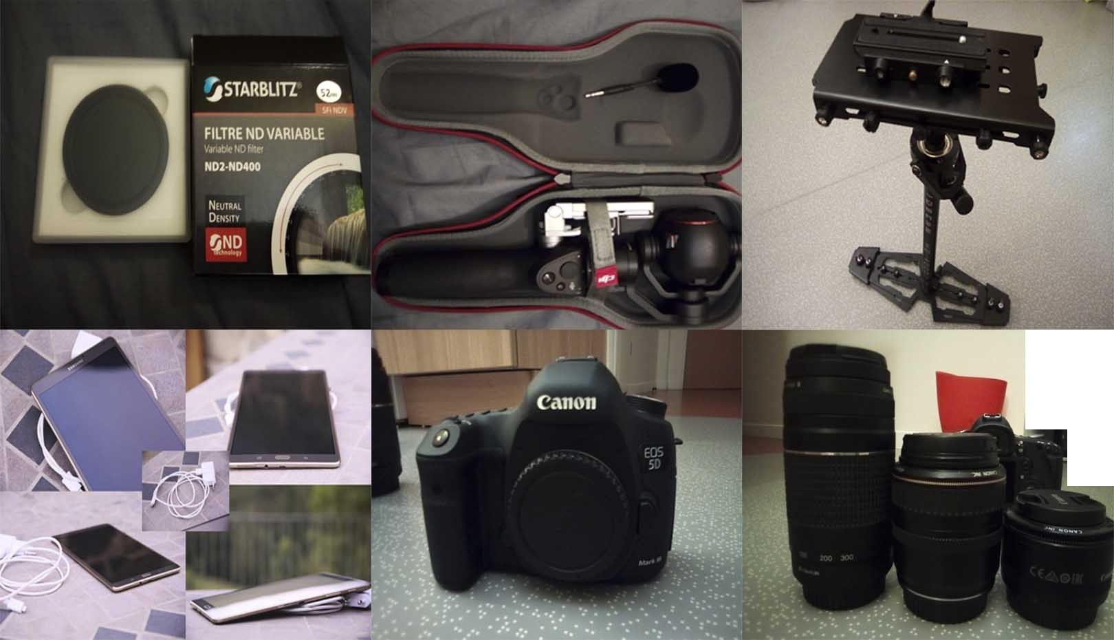 Kit 5D Mark III + Optiques, Accessoires + Dji Osmo +, Glidecam HD4000