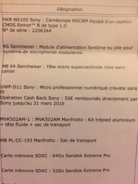 Sony NX 100 et tout ce qui faut avec !
