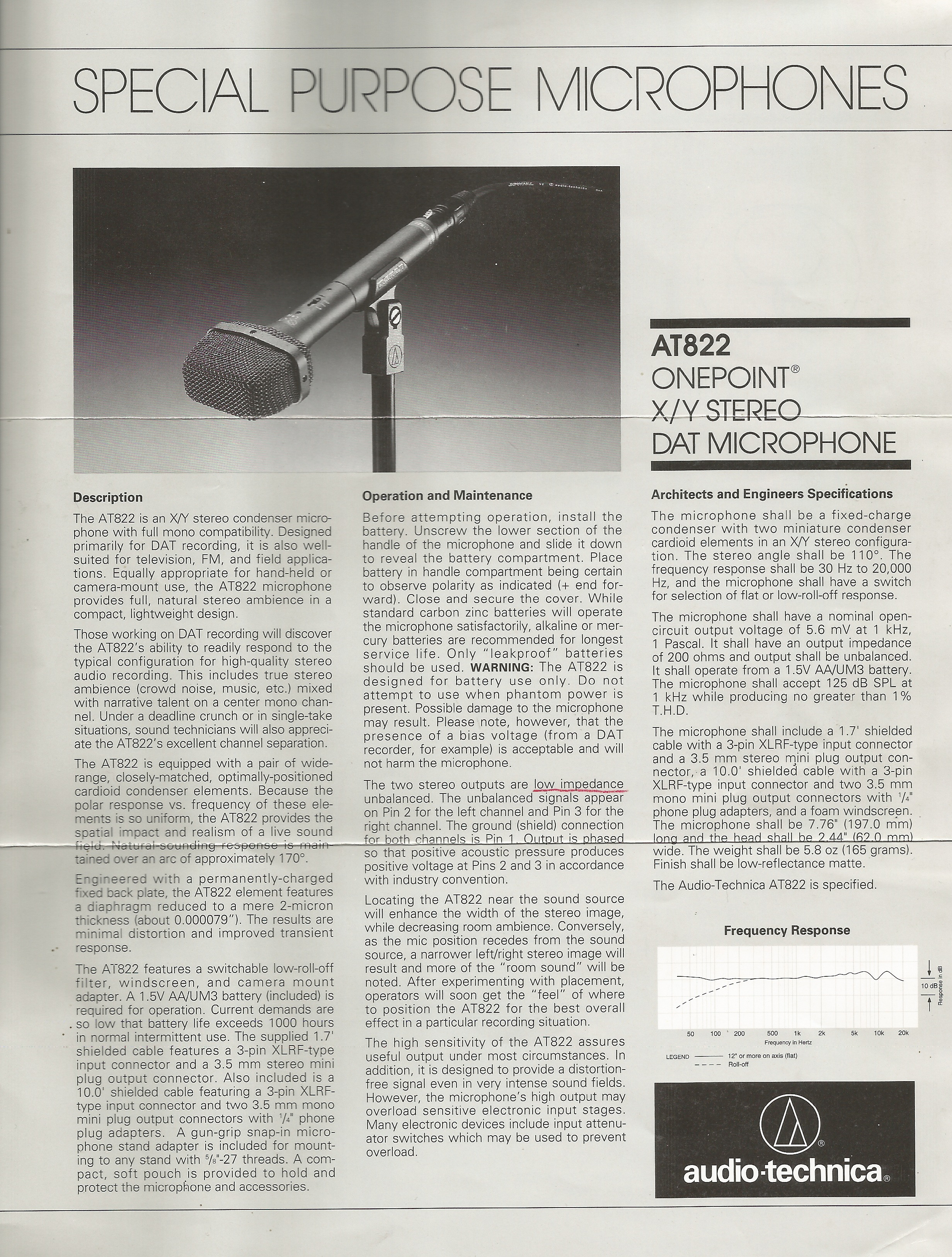 Micro Stéreo Audio Technica AT822