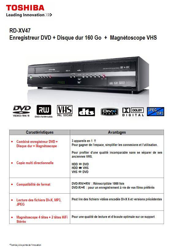 Magnétoscope Toshiba RD-XV47KF - VHS / DVD / Disque Dur