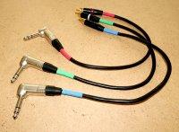 3 petits câble RCA - jack 6,35 40 cm